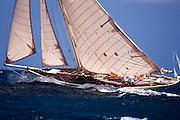 Kate sailing in the 2010 Antigua Classic Yacht Regatta, Windward Race, day 4.