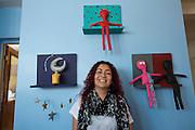 Artist Arabella Medrano at her studio in Reynosa, Mexico...La Frontera: Artists along the US Mexican Border. .www.stefanfalke.com..