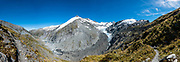 Dart Glacier, seen on a spectacular 20km round trip day hike from Dart Hut to Cascade Saddle, Rees-Dart Track, in Mount Aspiring National Park, Otago region, South Island of New Zealand. This image was stitched from multiple overlapping photos.
