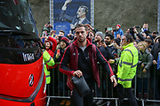 Liverpool midfielder Jordan Henderson (14) arrives off the coach during the Premier League match between Brighton and Hove Albion and Liverpool at the American Express Community Stadium, Brighton and Hove, England on 12 January 2019.