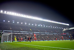 LIVERPOOL, ENGLAND - Monday, December 6, 2010: A layer of fog rolls in above Liverpool's Anfield Stadium during the Premiership match against Aston Villa at Anfield. (Photo by: David Rawcliffe/Propaganda)
