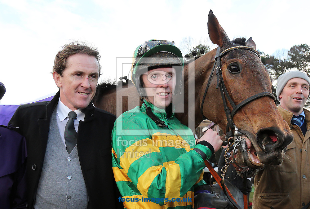 Mark Walsh and Carlingford Lough with Tony McCoy after winning the Irish Gold Cup at Leopardstown Racecourse, Eire.<br /> Picture by Lorraine O'Sullivan/Focus Images Ltd +353 872341584<br /> 06/02/2016