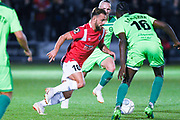 Danny Lloyd of Salford City (10) dribbles with the ball during the Vanarama National League match between Salford City and FC Halifax Town at Moor Lane, Salford, United Kingdom on 14 August 2018.