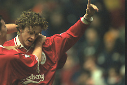 Liverpool, England - Wednesday, November 27th, 1996: Liverpool's Steve McManaman celebrates scoring the opening goal during the 4-2 victory over Arsenal during the 4th Round of the League Cup at Anfield. (Pic by David Rawcliffe/Propaganda)