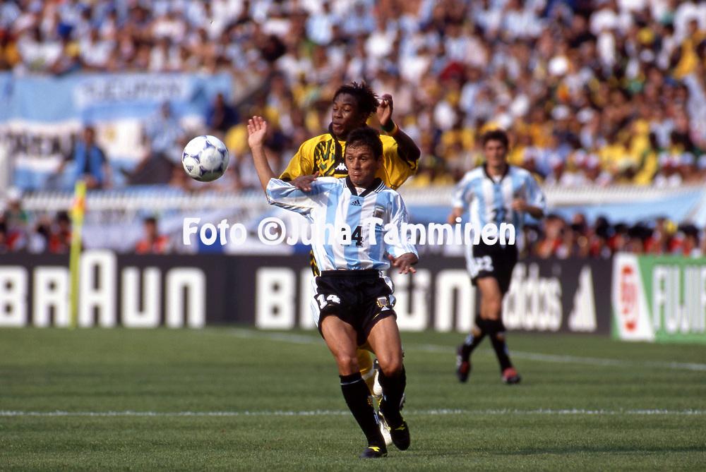 FIFA World Cup - France 1998<br /> 21.6.1998, Parque des Princes, Paris, France.<br /> Group H, Argentina v Jamaica.<br /> Nelson Vivas (Argentina) v Ricardo Gardner (Jamaica).