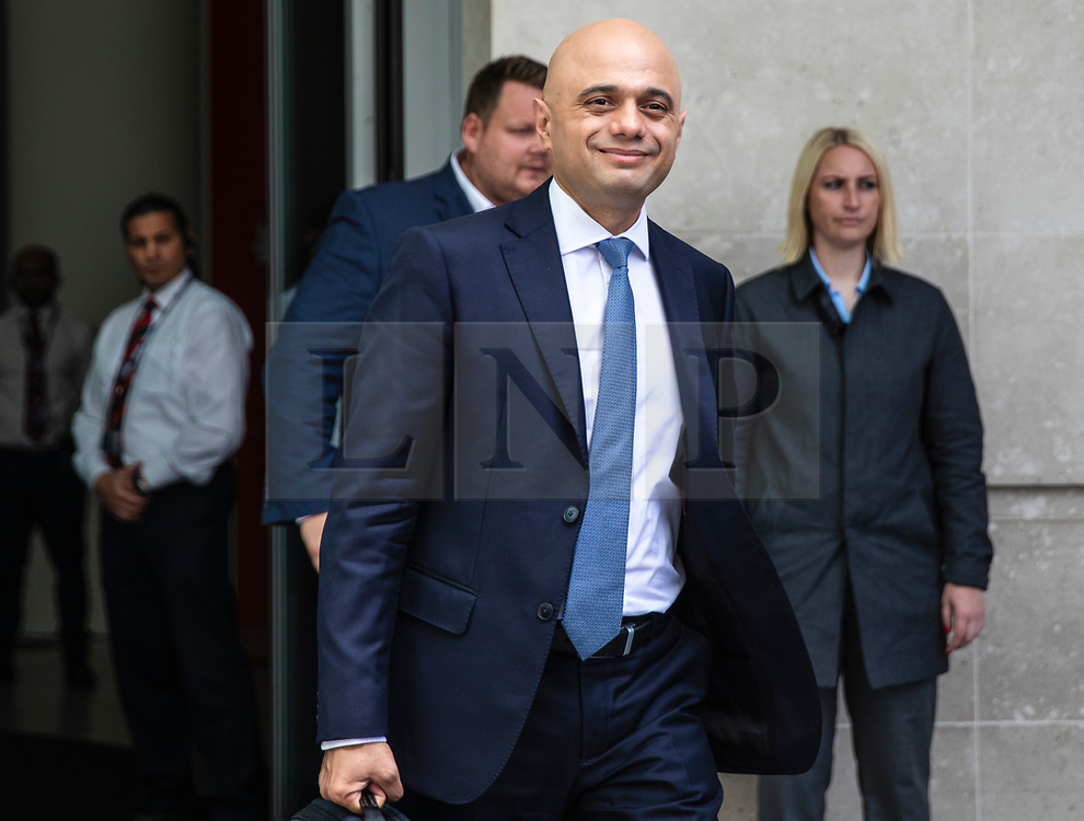 © Licensed to London News Pictures. 02/06/2019. London, UK. Home Secretary Sajid Javid leaves BBC Broadcasting House after appearing on The Andrew Marr Show. Photo credit: Rob Pinney/LNP