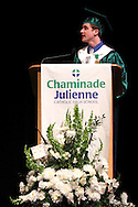 Senior Jay Bryant speaks during the Chaminade Julienne High School Class of 2012 commencement exercises at the Schuster Center in downtown Dayton, Monday, May 21, 2012.