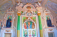 Close-up of a beautiful painted altar in a church in Mendrisio, Ticino, Switzerland