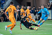 LAFC defender Mohamed El-Munir (13) deflects a pass intended for Houston Dynamo midfielder Tomas Martinez (10) during a MLS soccer game, Saturday, Sept 25, 2019, in Los Angeles. (Jon Endow/Image of Sport)