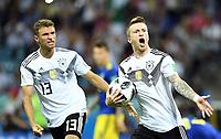1:1 Jubel v.l. Thomas Mueller, Torschuetze Marco Reus (Deutschland)<br /> Sotschi, 23.06.2018, FIFA Fussball WM 2018 in Russland, Vorrunde, <br /> Tyskland - Sverige<br /> <br /> Norway only