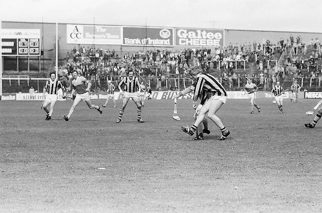 Kilkenny and Wexford battle it out for possession during the All Ireland Senior Leinster Hurling Final Kilkenny v Wexford at Croke Park on the 24th of July 1977. Wexford 3-17 Kilkenny 3-14.