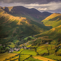Buttermere village from Red Pike, Cumbria.