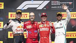 October 21, 2018 - Austin, Texas, U.S - The Winner of F1 #7 ''KIMI R€IKK…NEN'' Scuderia Ferrari 2nd Place #33 ''MAX VERSTAPPEN'' Austin Martin Red Bull Racing and 3rd place #44 ''LEWIS HAMILTON'' Mercedes AMG Petronas Motorsports (Credit Image: © Hoss McBain/ZUMA Wire)