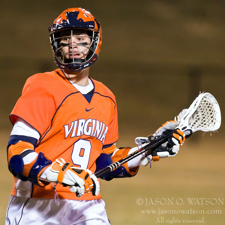 Virginia Cavaliers A Danny Glading (9) in action against Mt. Saint Mary's.  The #2 ranked Virginia Cavaliers defeated the Mt. Saint Mary's Mount 10-2 at the University of Virginia's Klockner Stadium in Charlottesville, VA on February 24, 2009.   (Special to the Daily Progress / Jason O. Watson)