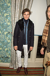 OLIVER CHESHIRE at a cocktail reception hosted by the Woolmark Company, Pierre Lagrange and the Savile Row Bespoke Association to celebrate 'The Ambassador's Project' for London Collections Mens at Marks Club, Charles street, London on 8th January 2016.