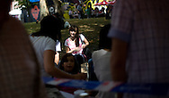 A young woman relaxes in a park of the Northern Spanish Basque city of Bilbao, on August 25, 2011. Photo Rafa Rivas