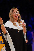 02 April 2013: Los Angeles Lakers owner Jeanie Buss speaks during the Shaquille O'Neal jersey retirement ceremony during halftime of  the Lakers 101-81 victory over the Dallas Mavericks at the STAPLES Center in Los Angeles, CA.