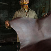 A masked worker displays  a spray painted cowhide  in the Kalyanwadi tanning area. Dharavi, August 2007