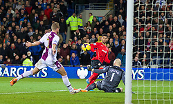 CARDIFF, WALES - Tuesday, February 11, 2014: Cardiff City's Fraizer Campbell sees his shot hit the Aston Villa post during the Premiership match at the Cardiff City Stadium. (Pic by David Rawcliffe/Propaganda)