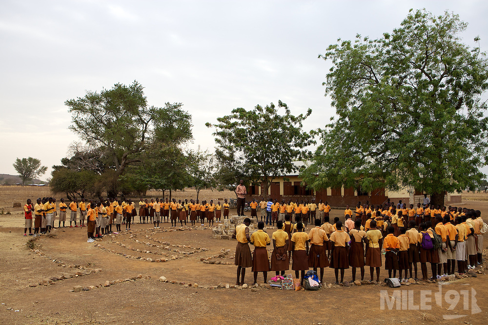 Michael Zoogah, head teacher, takes the morning assembly at Tonga Junior High School in Talensi Nabdam, Ghana.