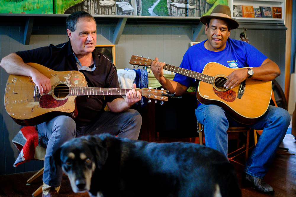CHILDS, MARYLAND - SEPTEMBER 2: Zane Campbell plays music with Sporty Dave and others in the Childs Store on Saturday, September 2, 2017 in Childs, Maryland. Most Campbells are store owners and artists and musicians, including his Aunt Ola Belle, a star of old-time/bluegrass music in the 60s and 70s, who also ran a country-music park. (Photo by Pete Marovich For The Washington Post)