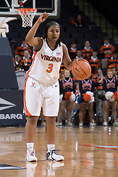 Virginia Cavaliers Guard Paulisha Kellum (3) sets the UVA offense in action against Charlotte.  The Virginia Cavaliers women's basketball team defeated The University of North Carolina - Charlotte 49ers 74-72 in the 2nd round of the Women's NIT at John Paul Jones Arena in Charlottesville, VA on March 19, 2007.