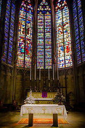 Stained glass windows in the interior of the  Basilique Saint Nazaire in the medieval Cité de Carcassonne, France<br /> <br /> (c) Andrew Wilson | Edinburgh Elite media