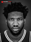 Sep 21, 2018; Camden, NJ, USA; Philadelphia 76ers center Joel Embiid poses for a photograph on media day at the 76ers training complex. Mandatory Credit: Bill Streicher-USA TODAY Sports