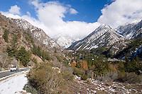 Truck Driving Toward Mount Baldy Ski Village, Angeles National Forest, California