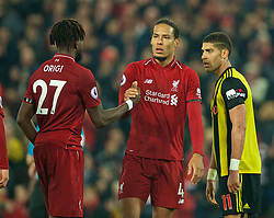 LIVERPOOL, ENGLAND - Wednesday, February 27, 2019: Liverpool's Virgil van Dijk celebrates with Divock Origi during the FA Premier League match between Liverpool FC and Watford FC at Anfield. (Pic by Paul Greenwood/Propaganda)