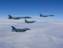 Two U.S. Air Force B-1B Lancers assigned to the 37th Expeditionary Bomb Squadron, deployed from Ellsworth Air Force Base, South Dakota, flew from Andersen Air Force Base, Guam, for a 10-hour mission, flying in the vicinity of Kyushu, Japan, the East China Sea, and the Korean peninsula, Aug. 7, 2017 (HST). During the mission, the B-1s were joined by Japan Air Self-Defense Force F-2s as well as Republic of Korea Air Force KF-16 fighter jets, performing two sequential bilateral missions. These flights with Japan and the Republic of Korea (ROK) demonstrate solidarity between Japan, ROK and the U.S. to defend against provocative and destabilizing actions in the Pacific theater. (Courtesy photo)