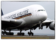 Copyright JIm Rice © 2013. Singapore airlines A380 inaugural landing at Sydney airport