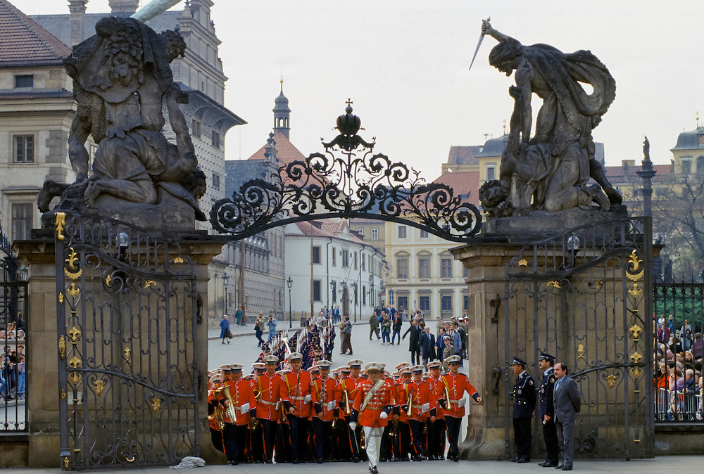 Military guard in ceremonial uniform at Prague Castle in Prague, Czech Republic