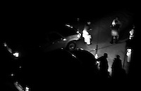 Night Drivers stop their white vehicles on the Jada Mawand's road