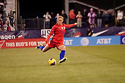 USA defender Abby Dahlkemper (7) kicks the ball downfield during an international friendly women's soccer match against Sweden, Thursday, Nov. 7, 2019, in Columbus, Ohio. USA defeated Sweden 3-2 . (Jason Whitman/Image of Sport)