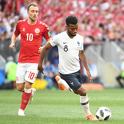 Christian Eriksen of Denmark and Thomas Lemar of France during the FIFA World Cup Group C match between Denmark and France at Luzhniki Stadium on June 26, 2018 in Moscow, Russia. (Photo by Anthony Dibon/Icon Sport)