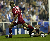 Copyright Sportsbeat. 0208 3926656<br />Picture: Henry Browne<br />Date: 18/04/2003<br />Reading v Nottingham Forest Nationwide First Division<br />Darren Huckerby's shot is saved brilliantly by Marcus Hahnemann of Reading in the first half