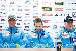 Andrej Jerman, Ales Gorza and Dejan Poljansek at press conference of Men Slovenian alpine team before the World Championship in Val d'Isere, France,  on January 26, 2009, in Ljubljana, Slovenia.  (Photo by Vid Ponikvar / Sportida)