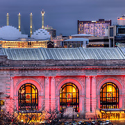 Union Station in foreground and Kauffman Center for the Performing Arts behind, downtown Kansas City, Missouri.