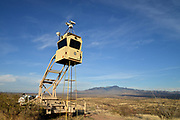 A portable surveillance tower placed in an outlying area southeast of Arivaca and west of Tubac, Arizona, USA, by the U.S. Border Patrol monitors smuggling and illegal related activity related to the Mexican border.
