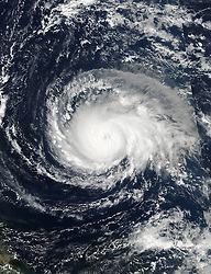 September 6, 2017 - Atlantic Ocean, U.S. - Hurricane Irma intensified into a strong and 'potentially catastrophic' category 5 storm. By definition, category 5 storms deliver maximum sustained winds of at least 157 miles (252 kilometers) per hour. Irma's winds that morning approached 180 miles per hour, the strongest ever measured for an Atlantic hurricane outside of the Gulf of Mexico or north of the Caribbean. (Credit Image: © NOAA/NASA via ZUMA Wire/ZUMAPRESS.com)