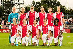 (BL-R) goalkeeper Marieke Ubachs of Ajax women, Line Røddik Hansen of Ajax women, Kelly Zeeman of Ajax women,n Kay-Lee Sanders of Ajax women, Ellen Jansen of Ajax women, Loïs Schenkel of Ajax women (FL-R) Kika van Es of Ajax women, Ilna Reetta Salmi of Ajax women, Vanity Lewerissa of Ajax women, Soraya Verhoeve of Ajax women, Liza van der Most of Ajax women during the UEFA Women's Champions League match between Ajax Amsterdam and Sparta Praag at Sportpark De Toekomst on September 12, 2018 in Amsterdam, The Netherlands