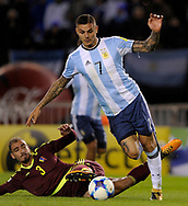 Argentina's forward Mauro Icardi during their 2018 FIFA World Cup qualifier football match against Venezuela,  at Monumental stadium, in Buenos Aires, on September 5, 2017.