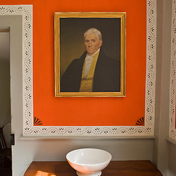 A portrait of Benjamin Pierce in the dining room at the Frankiln Pierce Homestead in Hillsborough, New Hampshire.