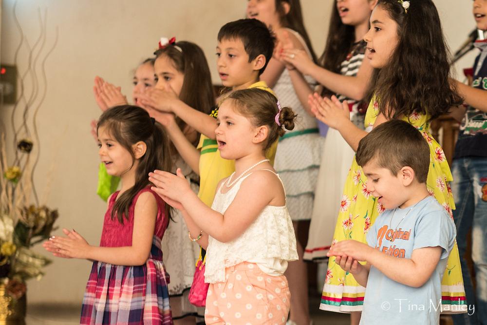 Sunday evening worship and fellowship at the Kamishli Evangelical Presbyterian Church in Kamishli, Syria.