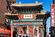 "Chinese ""Friendship Arch"" is a landmark of Chinatown, Philadelphia, Pennsylvania, USA"