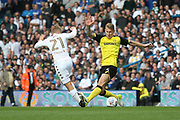 Burton Albion defender Kyle McFadzean (5) and Leeds United defender Samuel Saiz (21) during the EFL Sky Bet Championship match between Leeds United and Burton Albion at Elland Road, Leeds, England on 9 September 2017. Photo by John Potts.