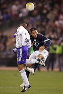 10 February 2006: Clint Dempsey (8), of the U.S., and Japan's Shinji Ono (l) challenge for a header. The United States Men's National Team defeated Japan 3-2 at SBC Park in San Francisco, California in an International Friendly soccer match.