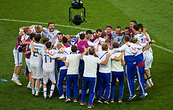 MOSCOW, RUSSIA - Sunday, July 1, 2018: Russia players celebrate after beating Spain 4-3 on penalties during the FIFA World Cup Russia 2018 Round of 16 match between Spain and Russia at the Luzhniki Stadium. (Pic by David Rawcliffe/Propaganda)