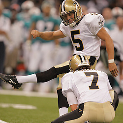 2008 August 28: Kicker, Taylor Mehlhaff (5) missed his only field goal attempt of the night against the Miami Dolphins at the Louisiana Superdome in New Orleans, LA. Mehlhaff is trying to earn a spot on the Saints final 53 man roster over veteran kicker Martin Gramatica.